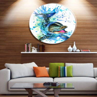 Designart Large Blue Dolphin Watercolor Disc Contemporary Animal Metal Circle Wall Decor