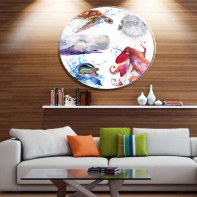 Designart Amazing undersea Life Collage Disc Contemporary Animal Metal Circle Wall Decor