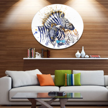 Designart Zebra Family Illustration Watercolor Disc Contemporary Animal Metal Circle Wall Decor