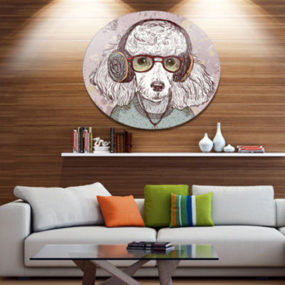 Designart Funny Hipster Poodle with Glasses Disc Contemporary Animal Metal Circle Wall Decor