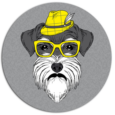 Designart Schnauzer with Hat and Glasses Disc Contemporary Animal Metal Circle Wall Decor