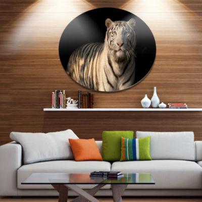 Designart White Bengal Tiger on Black Disc Abstract Metal Circle Wall Decor