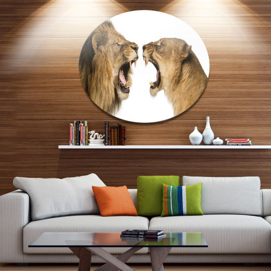 Designart Lion and Lioness Roaring Disc Abstract Metal Circle Wall Decor