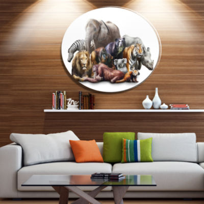 Designart Animals on White Background Ultra Vibrant Abstract Metal Circle Wall Art