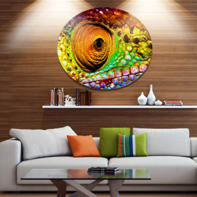Designart Multicolor Scaly Skin of Lizard Ultra Vibrant Abstract Metal Circle Wall Art