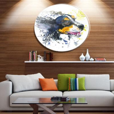 Designart Dog and Yellow Ball Watercolor Ultra Vibrant Abstract Metal Circle Wall Art