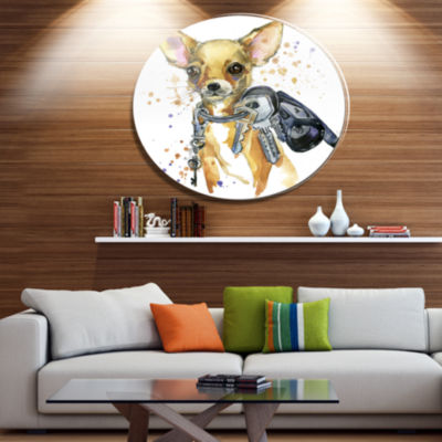 Designart Brown Toy Terrier Dog Watercolor Ultra Vibrant Abstract Metal Circle Wall Art