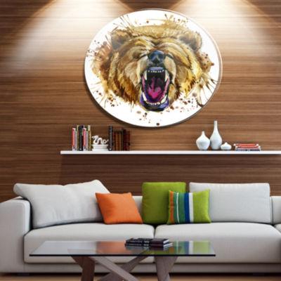 Designart Growling Grizzly Bear Watercolor Ultra Vibrant Abstract Metal Circle Wall Art