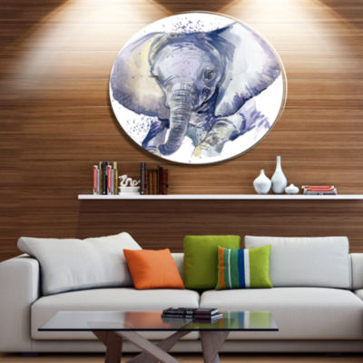 Designart Baby Elephant Blue Watercolor Ultra Vibrant Abstract Metal Circle Wall Art