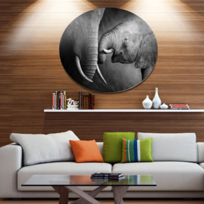 Designart Elephants Showing Affection Ultra Vibrant Abstract Metal Circle Wall Art