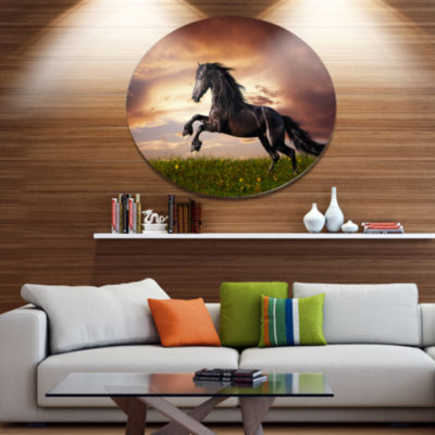 Designart Black Friesian Horse Gallop Ultra Vibrant Abstract Metal Circle Wall Art