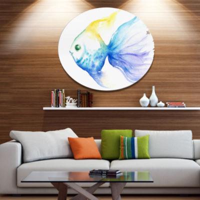 Designart Lovely Blue Fish Watercolor Ultra Vibrant Abstract Metal Circle Wall Art