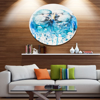 Designart Spix s Macaw Watercolor Ultra Vibrant Abstract Metal Circle Wall Art