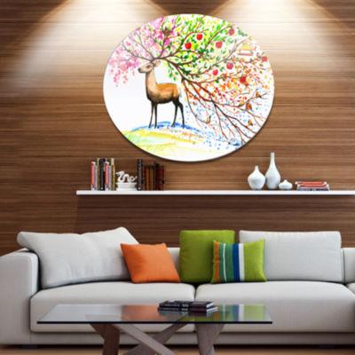 Designart Deer with Beautiful Horn Ultra Vibrant Abstract Metal Circle Wall Art