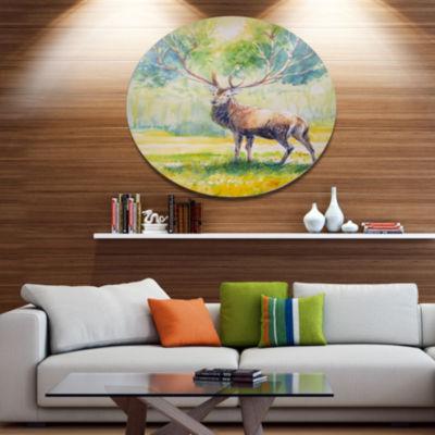 Designart Deer with Blue Horn Ultra Vibrant Abstract Metal Circle Wall Art
