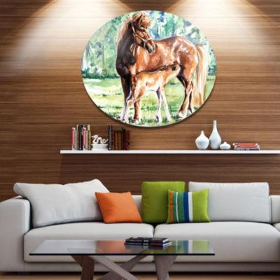 Designart Mare and Foal Watercolor Ultra Vibrant Abstract Metal Circle Wall Art