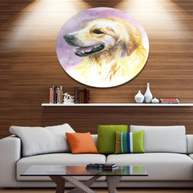 Designart Sweet Yellow God Watercolor Ultra Vibrant Abstract Metal Circle Wall Art