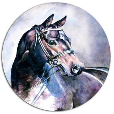 Designart Black Horse with Bridle Ultra Vibrant Abstract Metal Circle Wall Art