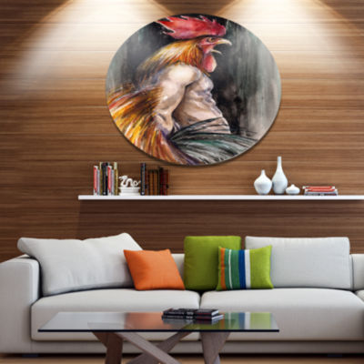 Designart Man with Wings and Rooster Head Ultra Vibrant Abstract Metal Circle Wall Art