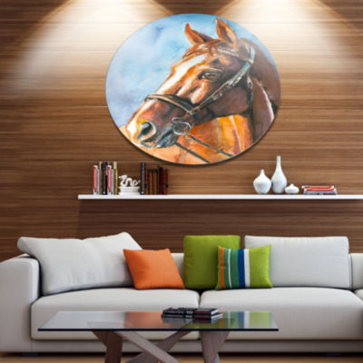 Designart Brown Horse with Bridle Ultra Vibrant Abstract Metal Circle Wall Art
