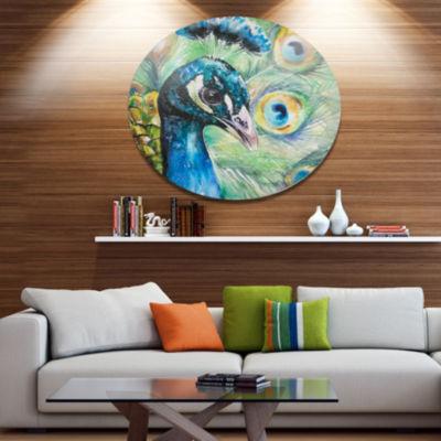 Designart Larger Peacock Watercolor Ultra VibrantAbstract Metal Circle Wall Art
