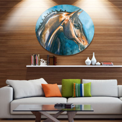 Designart Brown Horse on Blue Watercolor Ultra Vibrant Abstract Metal Circle Wall Art