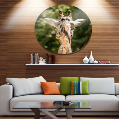 Designart Giraffe Head Back View Ultra Vibrant Abstract Metal Circle Wall Art