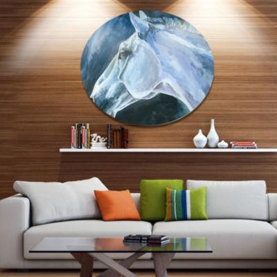 Designart Gray Horse Watercolor Ultra Vibrant Abstract Metal Circle Wall Art