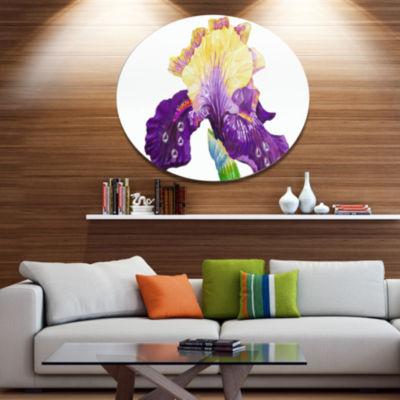 Designart Blooming Blue Yellow Iris Ultra VibrantFloral Metal Circle Wall Art