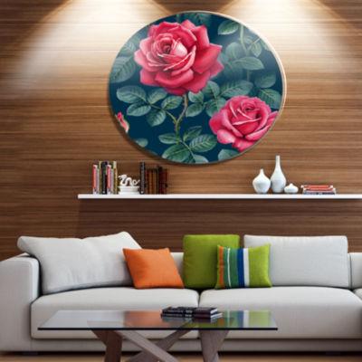 Designart Rose Illustration Watercolor Ultra Vibrant Floral Metal Circle Wall Art