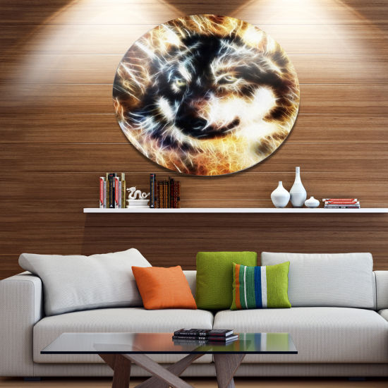 Designart Wolf Multicolor Collage Ultra Vibrant Abstract Metal Circle Wall Art