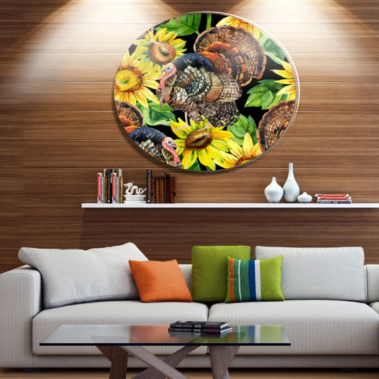Designart Turkey Bird with Sunflowers Ultra Vibrant Floral Metal Circle Wall Art