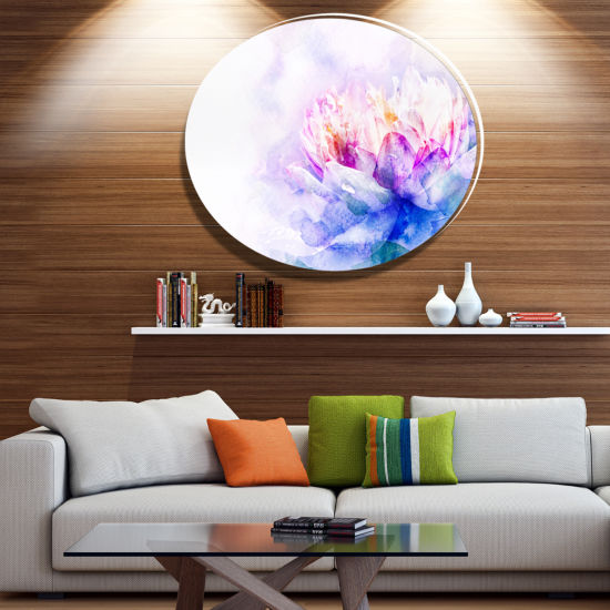 Designart Blue Flower Watercolor Ultra Vibrant Floral Metal Circle Wall Art