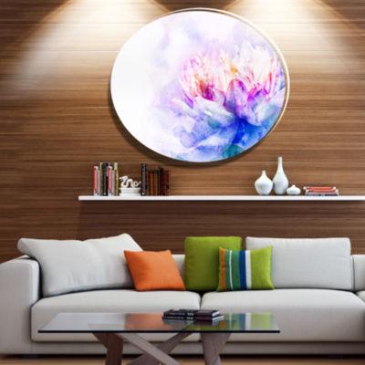 Designart Blue Flower Watercolor Ultra Vibrant Floral Metal Circle Wall Art