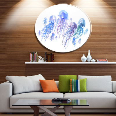 Designart Blue Purple Jellyfish Group Ultra Vibrant Abstract Metal Circle Wall Art