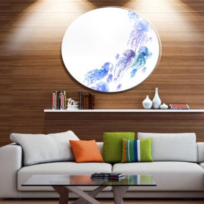 Designart Moving Jellyfish Group Ultra Vibrant Abstract Metal Circle Wall Art
