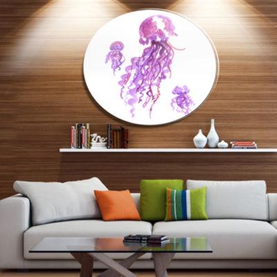 Designart Purple Jellyfish Watercolor Ultra Vibrant Abstract Metal Circle Wall Art