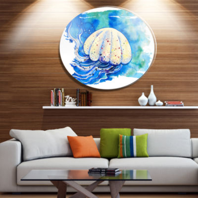 Designart Jellyfish Watercolor Painting Ultra Vibrant Abstract Metal Circle Wall Art