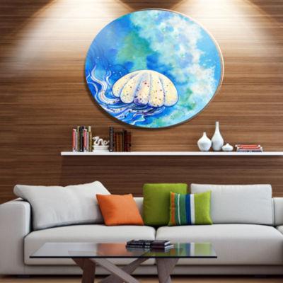 Designart Large Jellyfish Watercolor Ultra VibrantAbstract Metal Circle Wall Art