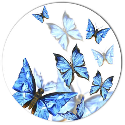 Designart Watercolor Butterflies on White Ultra Vibrant Floral Metal Circle Wall Art