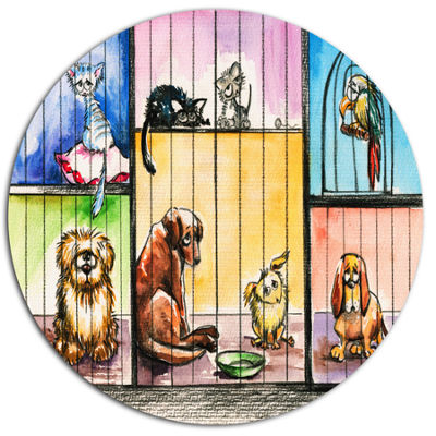 Designart Sad Animals in the Pound Ultra Vibrant Abstract Metal Circle Wall Art