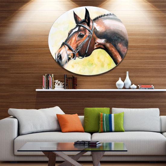 Designart Brown Horse Portrait Painting Ultra Vibrant Abstract Metal Circle Wall Art