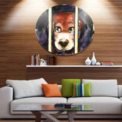 Designart Sad Dog in Animal Shelter Ultra VibrantAbstract Metal Circle Wall Art