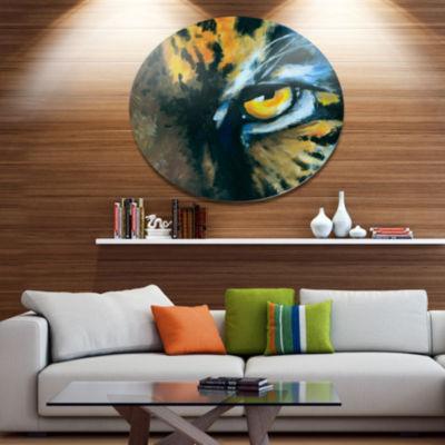 Designart Ferocious Eye of Tiger Ultra Vibrant Abstract Metal Circle Wall Art