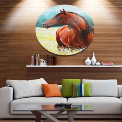 Designart Brown Arabian Horse Painting Ultra Vibrant Abstract Metal Circle Wall Art