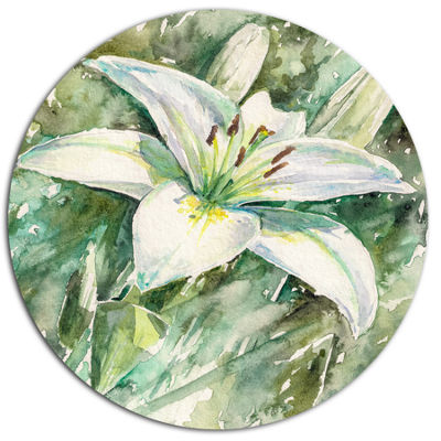 Designart Large White Lily Painting Ultra VibrantFloral Metal Circle Wall Art