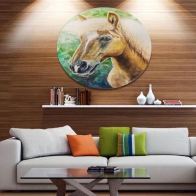 Designart Large Hafliner Horse Ultra Vibrant Abstract Metal Circle Wall Art