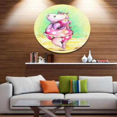 Designart Cute Hippo Goes Swimming Ultra Vibrant Abstract Metal Circle Wall Art