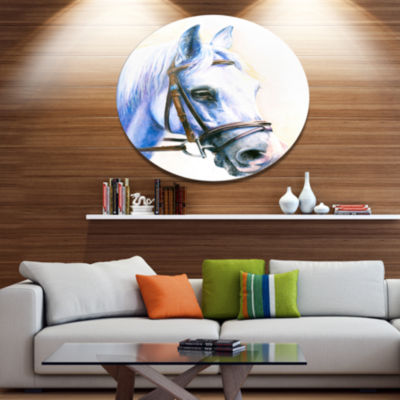Designart Blue Horse with Bridle Ultra Vibrant Abstract Metal Circle Wall Art