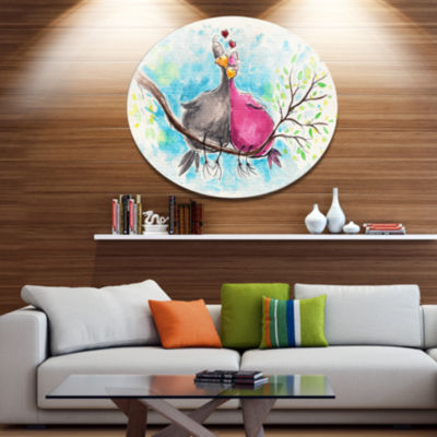 Designart Two Birds in Love on Branch Ultra Vibrant Abstract Metal Circle Wall Art
